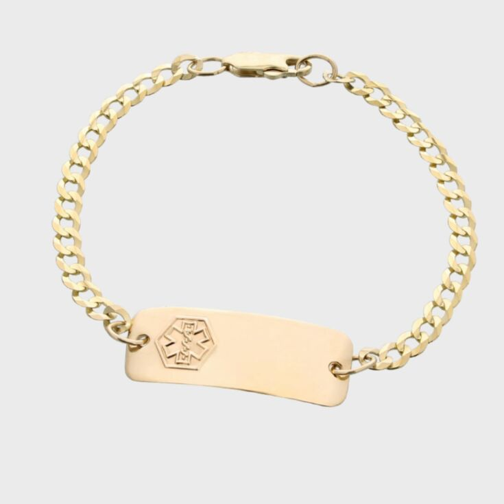 sterling silver medical id bracelet for kids, toddlers, children, petite classic style, small ID size