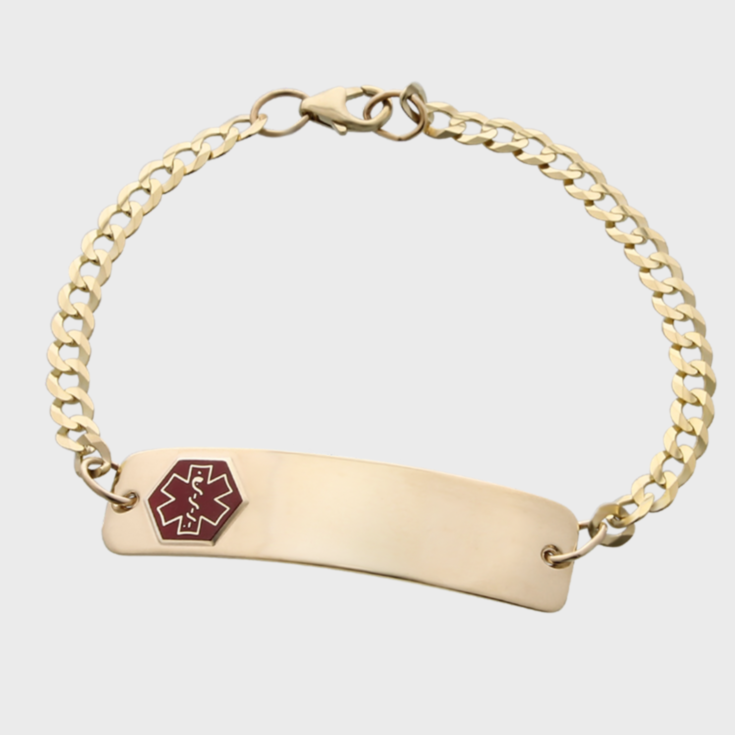 gold chain medical id bracelet with red emblem