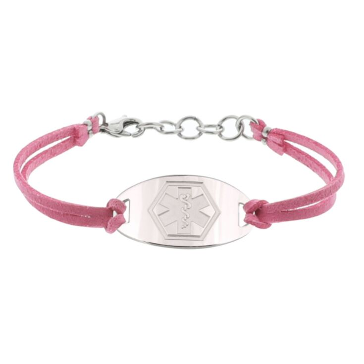 pink faux suede band medical id bracelet with sterling silver or stainless steel engraved medical id plate for teens, adults