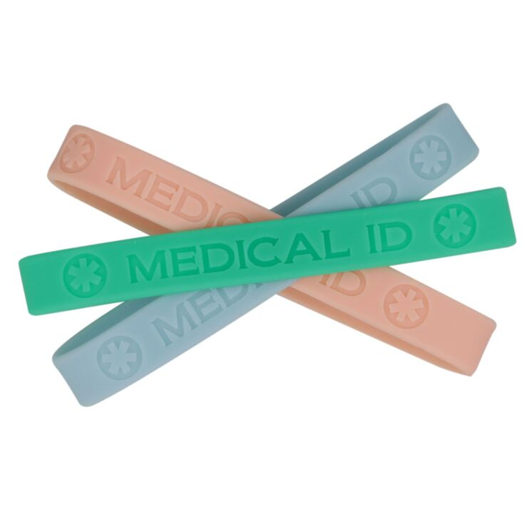beach inspired, pastel medical id bands in three seaside colors, green, pink, and blue, slick silicone id bands for adults
