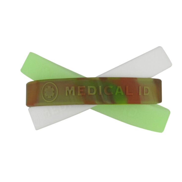 colorful medical id silicone bands, bundle pack in different colors white, glow in the dark, camouflage, different sizes available