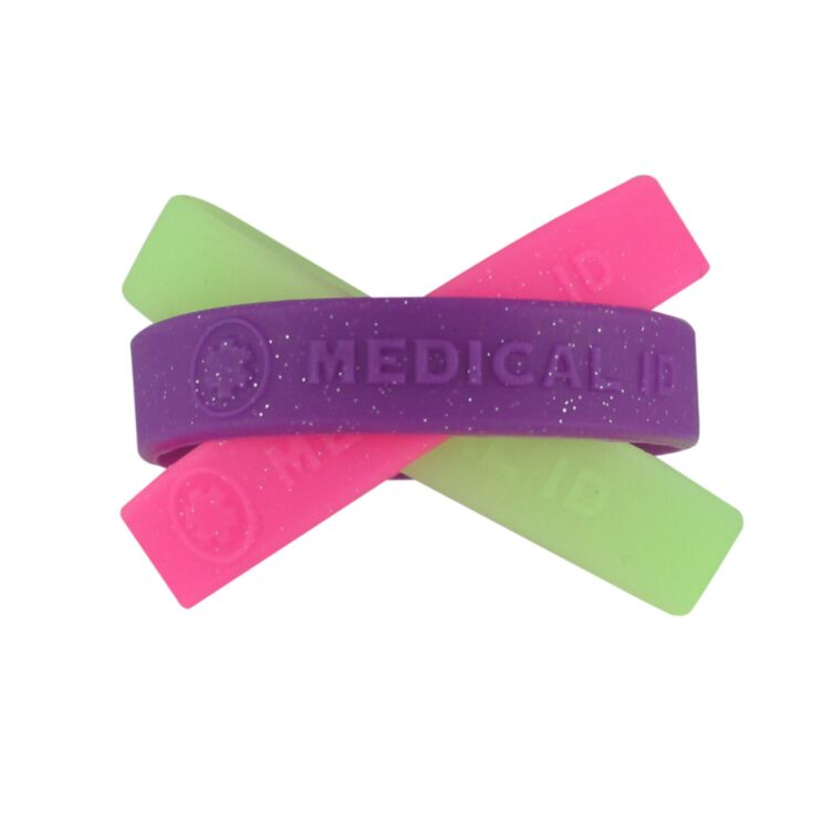 "sparkling, colorful, silicone medical id bands for kids in purple, pink, and glow in the dark, 6"", 7"" sizes available for use with engraved id plate"