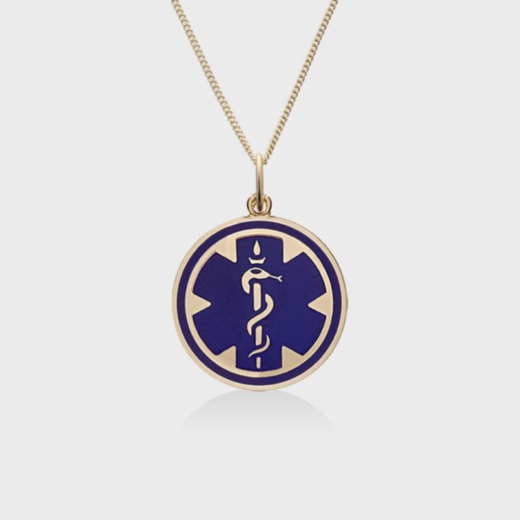 medallion style medical id necklace, classic gold chain with blue embossed medical emblem