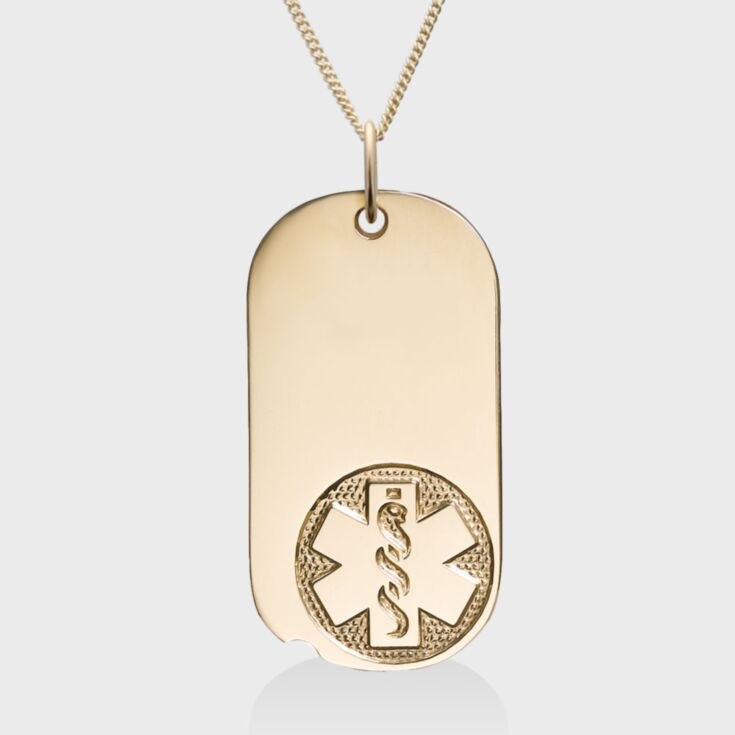 military style medical id necklace with 14kt gold large oval medical id tag