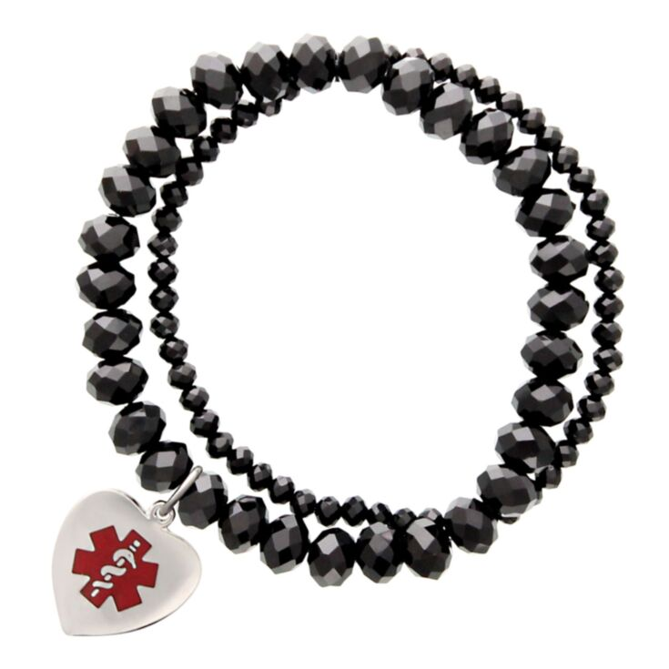 black onyx glass pearls medical id bracelet with sterling silver medallion, red medical emblem design