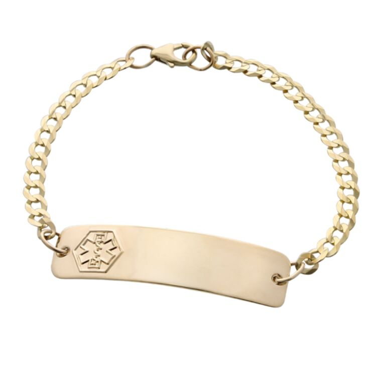 engraved gold classic medical id bracelet