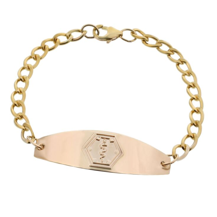 premier gold medical id bracelet for men and women, medical id plate, medical emblem