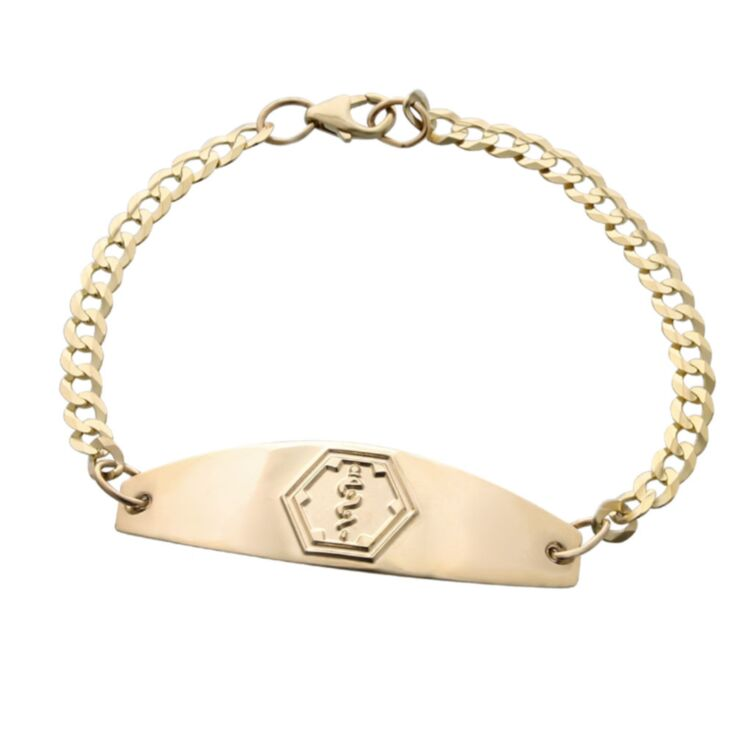 premier gold medical id bracelet for women with gold curb chain, medical id plate
