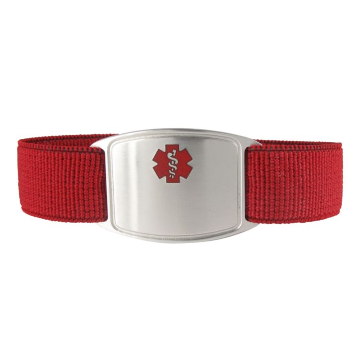 red sports style nylon medical id band, elastic band is comfortable and durable, sterling silver medical id plate with red medical emblem design