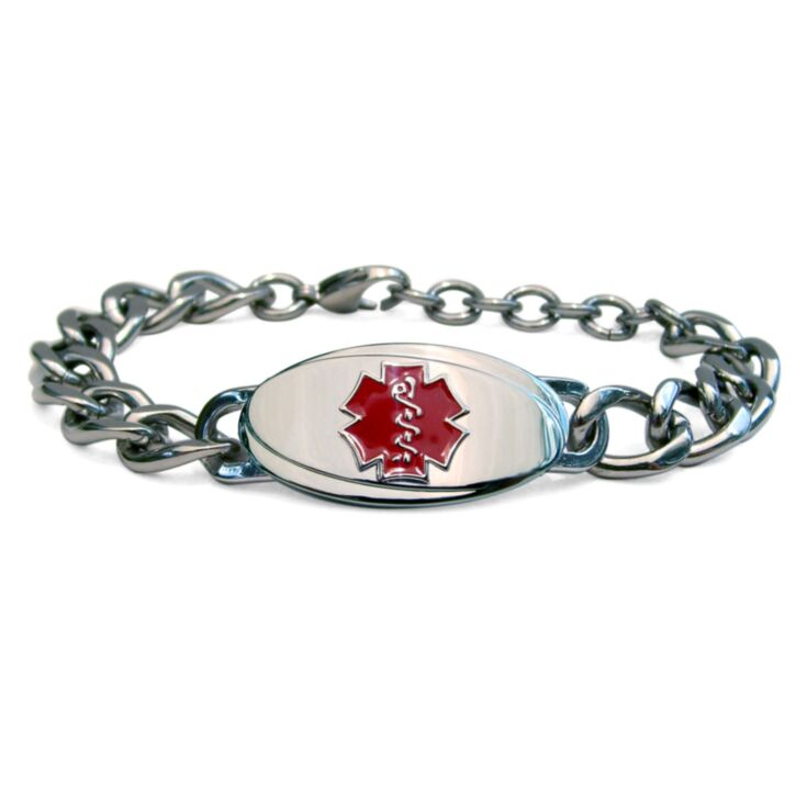 large curb titanium chain medical id bracelet for men with clasp and oval plate