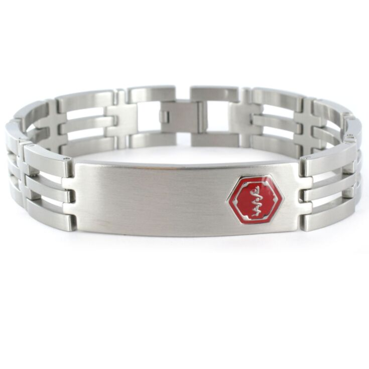 stainless steel lynx medical id bracelet for men with red medical emblem accent and foldover clasp