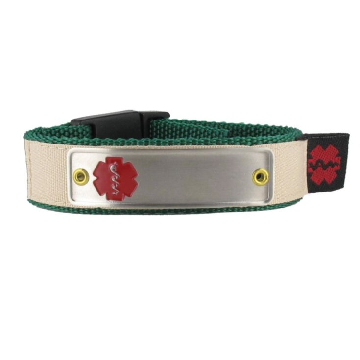 sportband nylon medical id bracelet in blue with red medical emblem tag and stainless steel plate for children, teens, adult