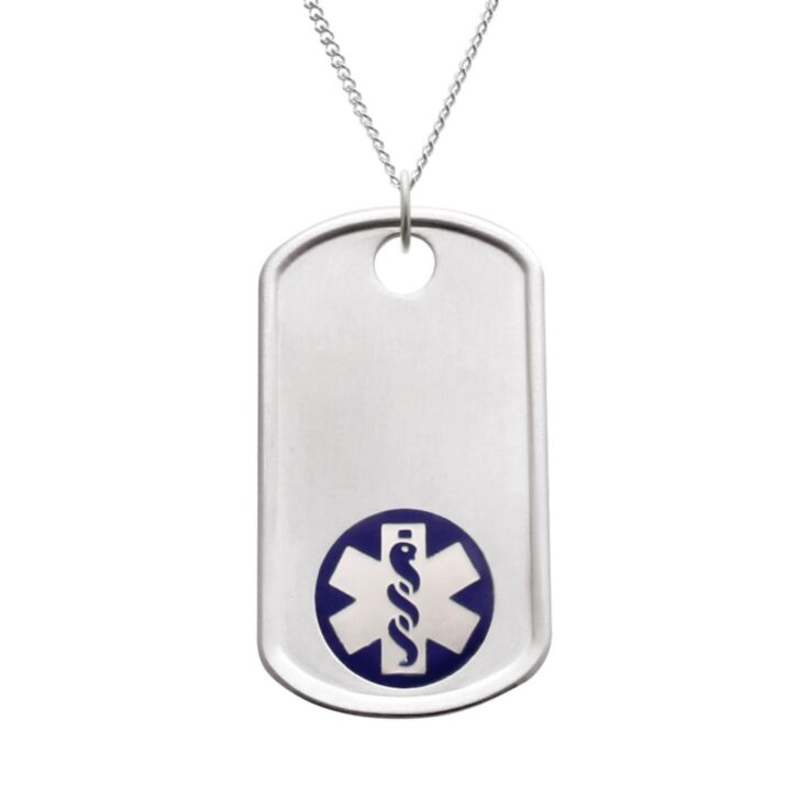 silver dog tag with blue medical emblem on sterling silver bead neck chain with stylish brushed metal finish