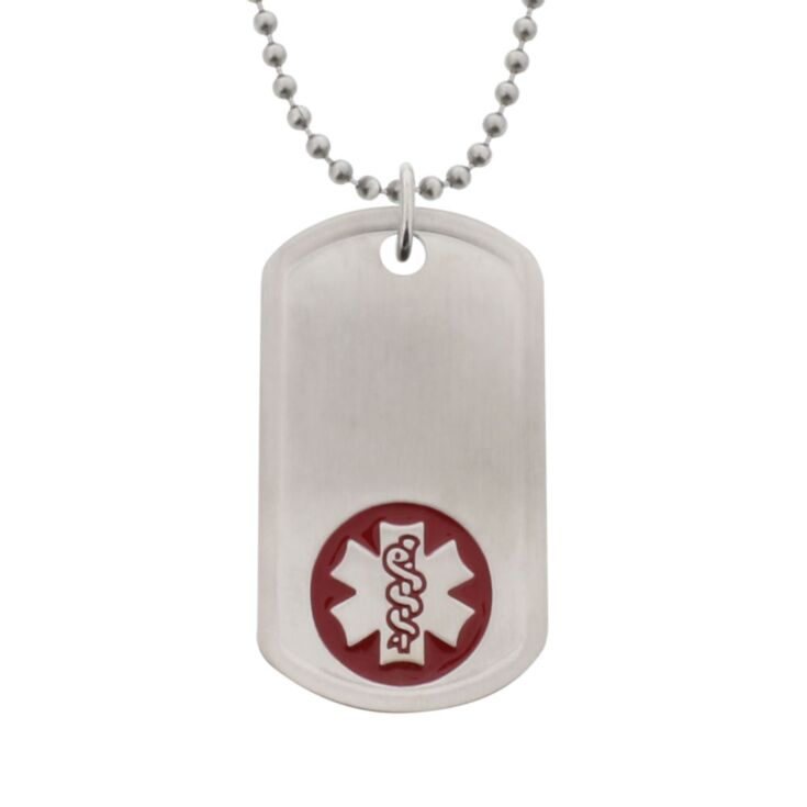 companion medical id, military style stainless steel tag with embossed red medical emblem