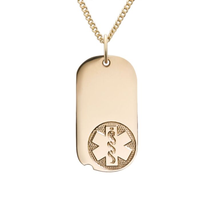 Gold miniature military style medical id necklace with softer edges, oval shape