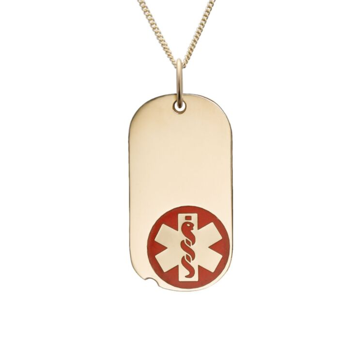 mini military style medical id necklace with sterling silver oval tag red medical emblem design