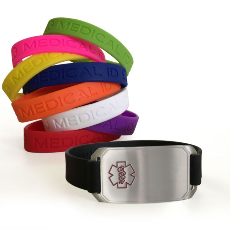 silicone companion medical ID, flex bracelet in solid colors, back up medical ID with free engraving