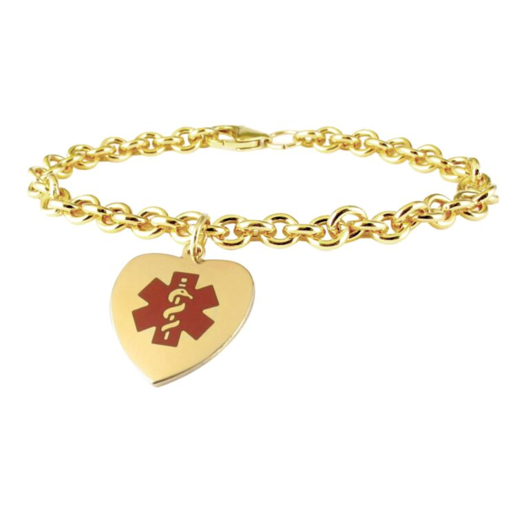 feminine gold chain medical id bracelet with heart-shaped charm in red design