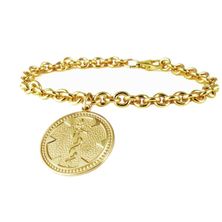 Classy Gold medallion charm medical id bracelet for women with round medical emblem