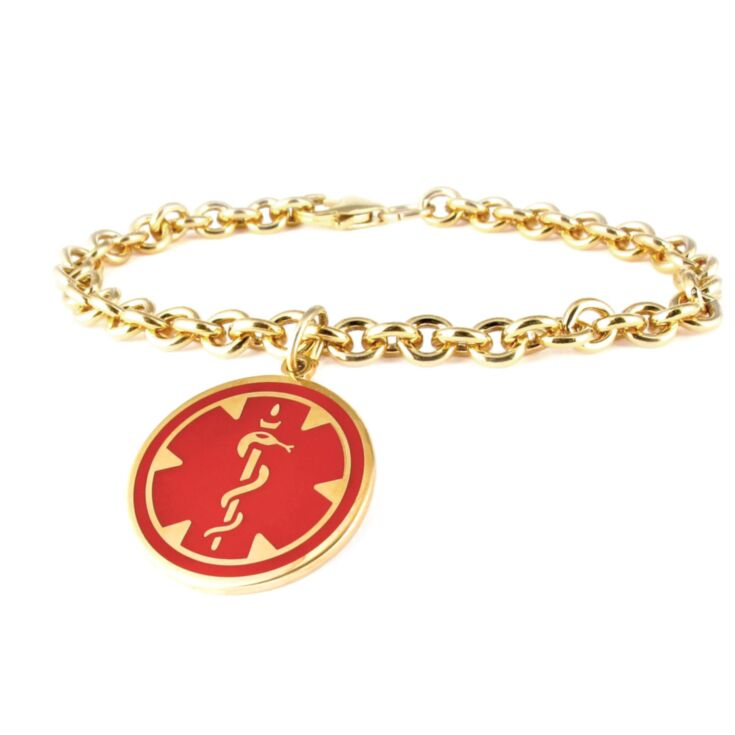 10ct Gold-Filled Medallion Red Charm Bracelet