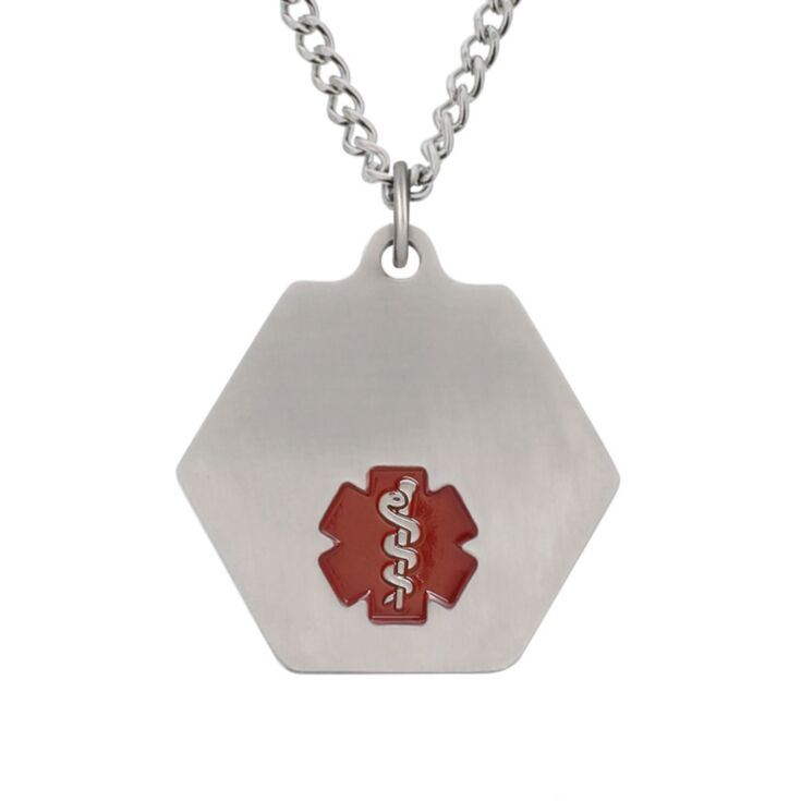 classic medical id necklace with hexagon pendant featuring red enamel medical emblem, stainless steel