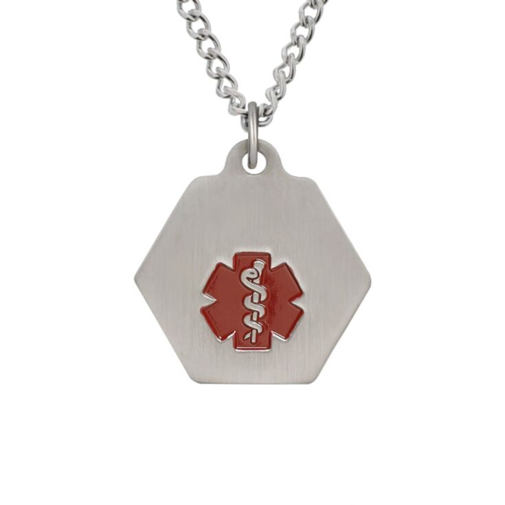 Stainless Steel small medical id chain necklace with pendant and red medical emblem design