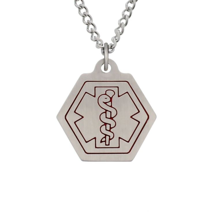 small stainless steel medical id necklace with classic style, hexagon pendant with red medical emblem design on standard or heavy curb neck chain