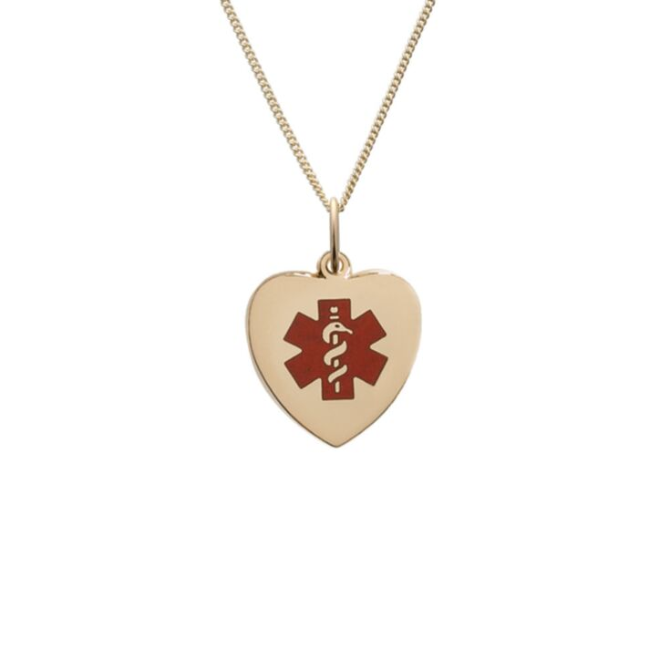 heart-shaped medical id necklace for women, curb style gold chain