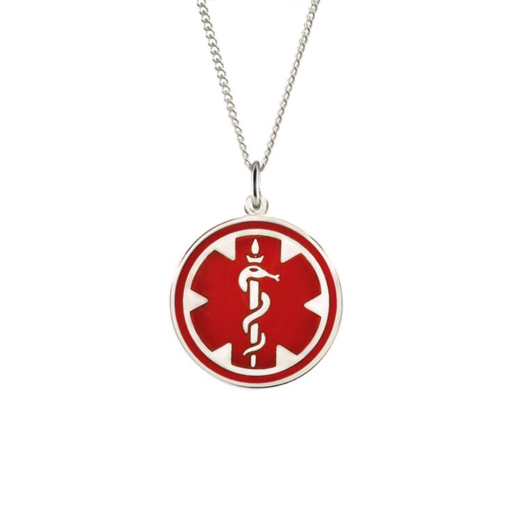 Sterling Silver Medallion Red Necklace