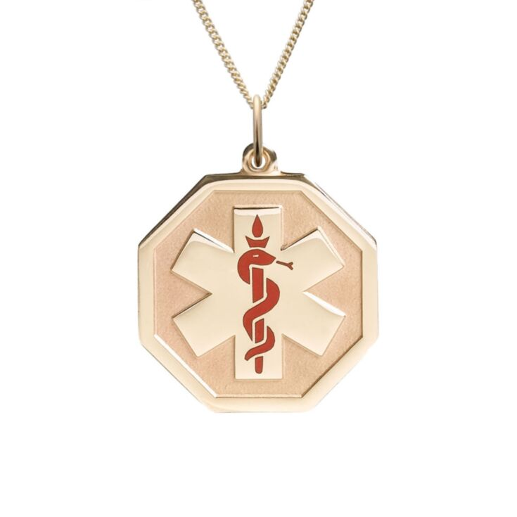 elegant unisex gold medical id necklace, octagon pendant with medical emblem