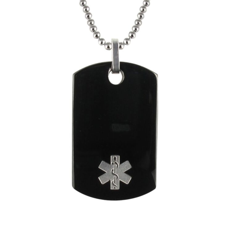 men's medical id necklace with stainless steel bead chain and polished onyx dog tag pendant