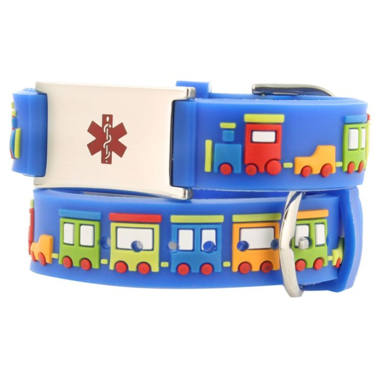 choo choo train kids medical id bracelet with fun and colorful train design on blue silicone band