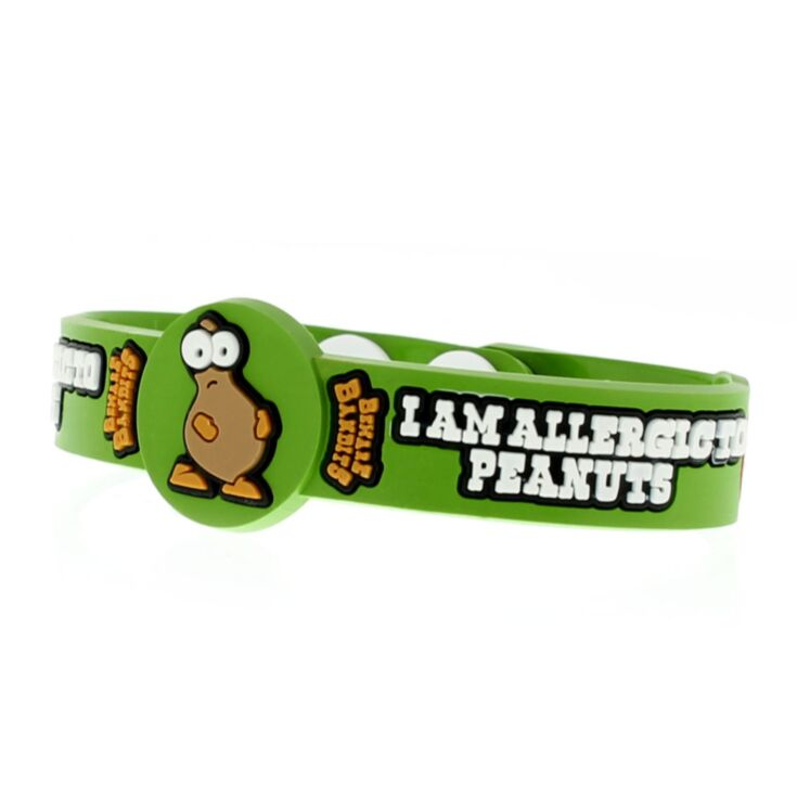 kids peanut allergy bracelet with fun peanut character, green silicone medical id band