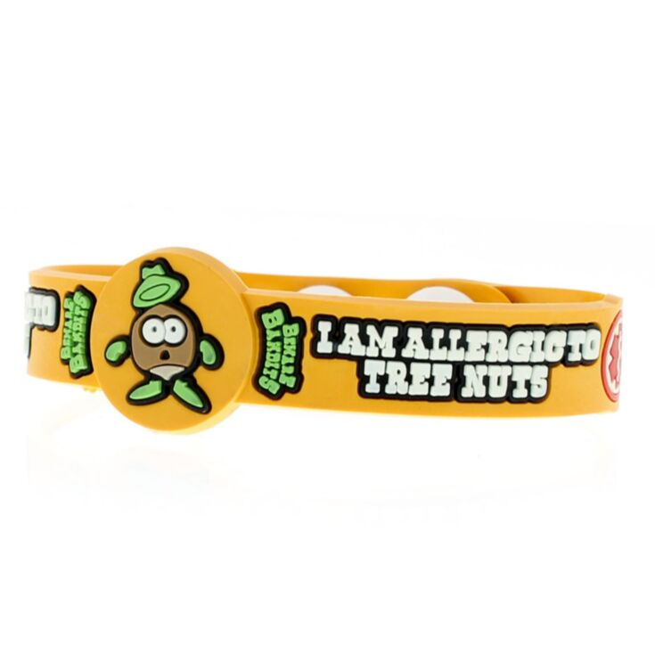 i am allergic to tree nuts bracelet for kids featuring chester falls character in fun yellow design