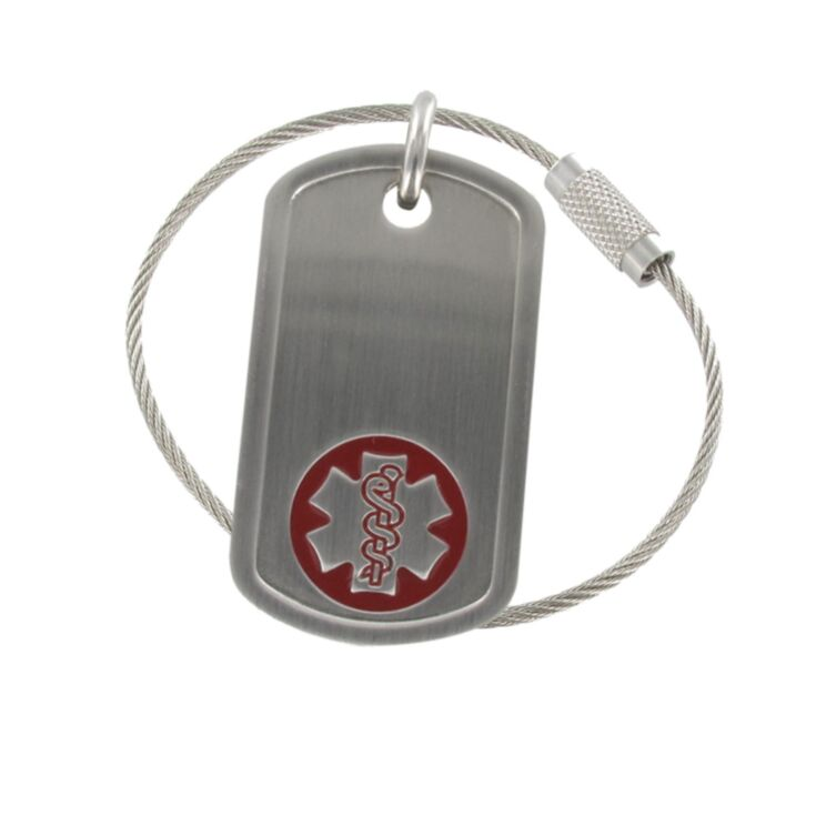 medical id keychain, military style stainless steel dog tag with cable chain, brushed finish, unisex design