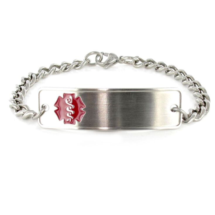 stainless steel medical id bracelet with slightly curved id plate and red emblem design