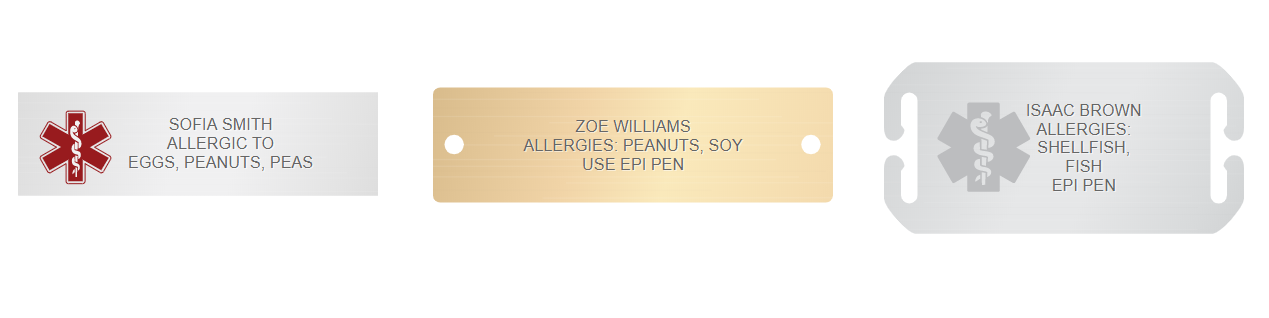 allergy engraving examples medical ID