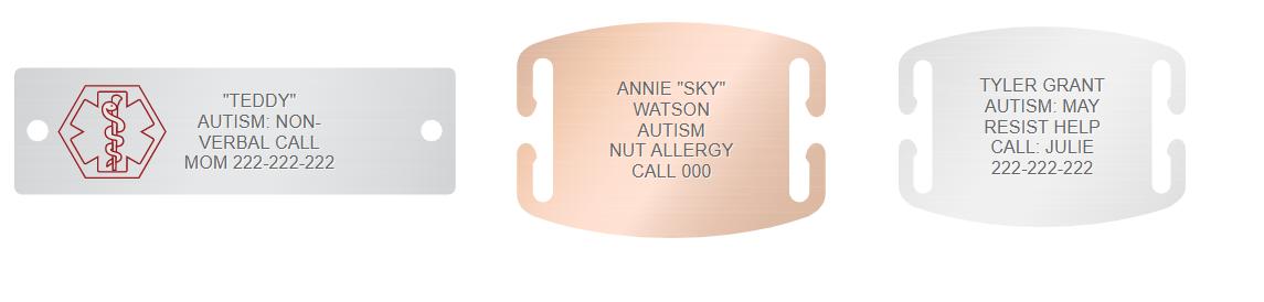 autism medical alert engraving